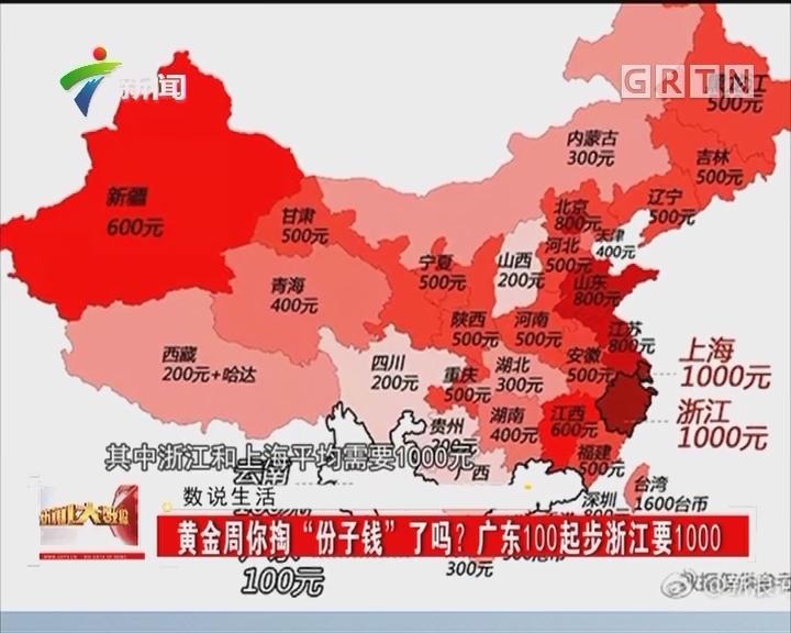 """黄金周你掏""""份子钱""""了吗?广东100起步浙江要1000"""