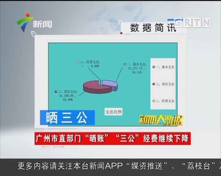 """广州市直部门 """"晒账"""" """"三公""""经费继续下降"""