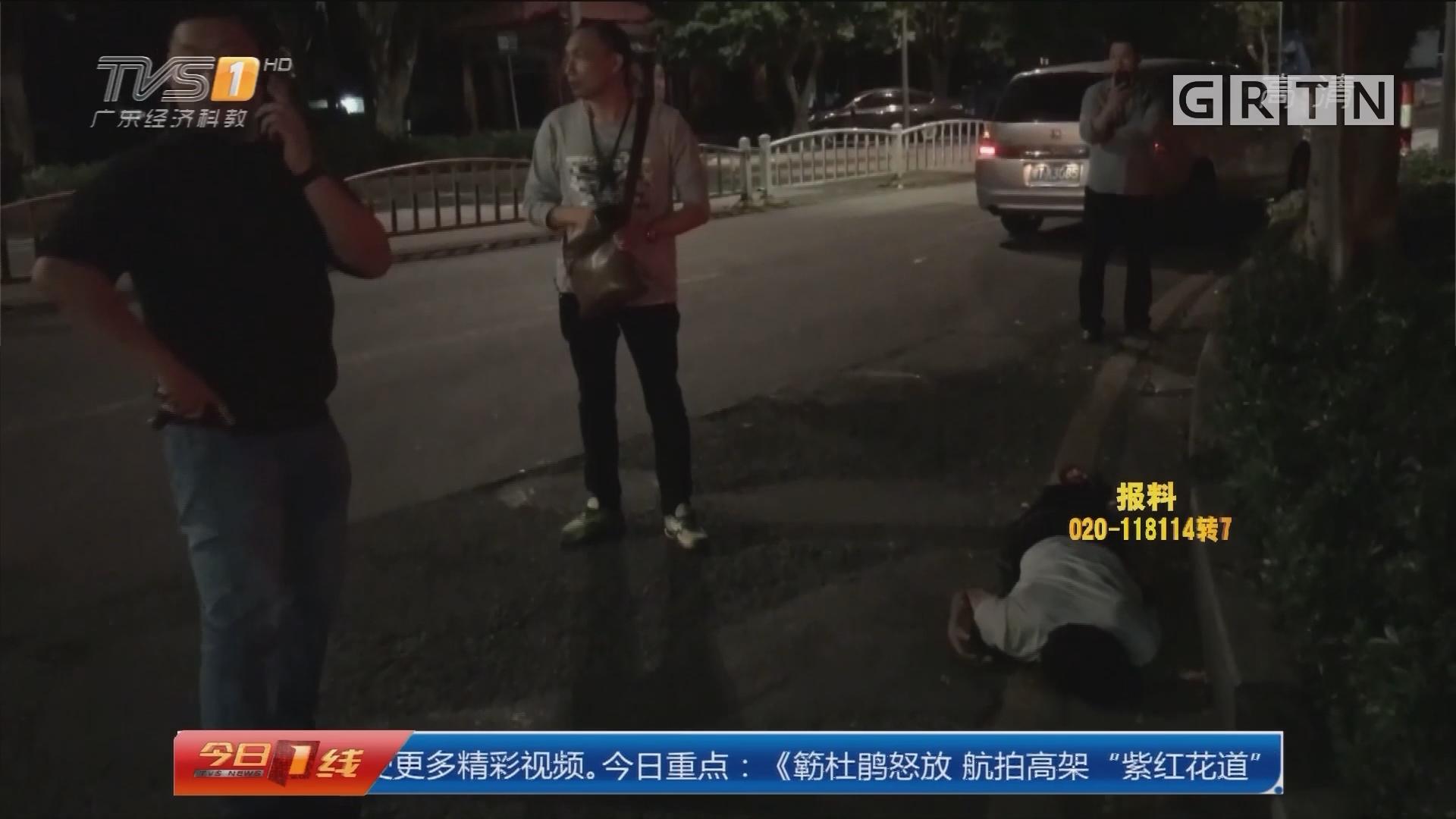 """佛山顺德:便衣警察路中央深夜救""""醉猫"""""""