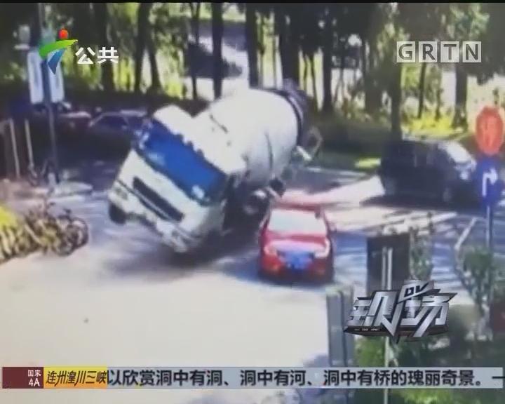 深圳:水泥槽罐车侧翻砸中小车 人员无重大伤亡