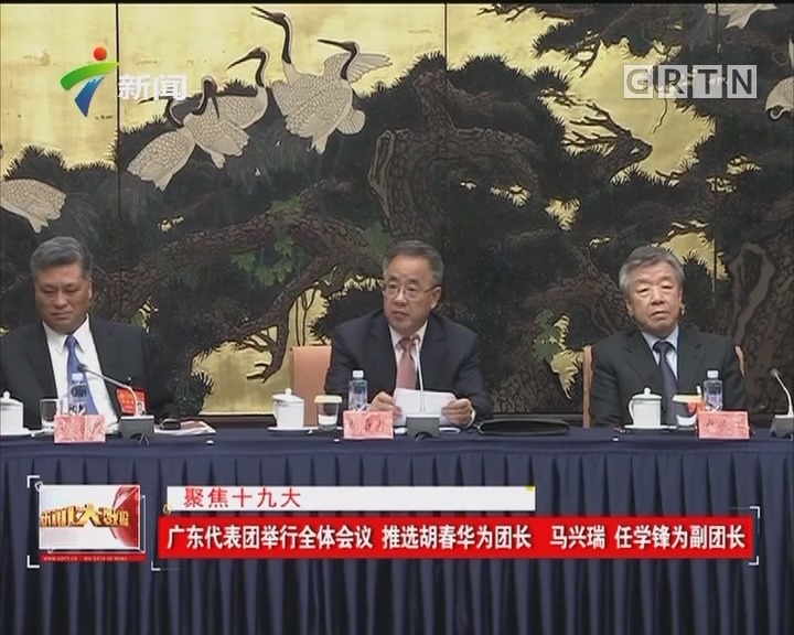 聚焦十九大 广东代表团举行全体会议 推选胡春华为团长 马兴瑞 任学锋为副团长