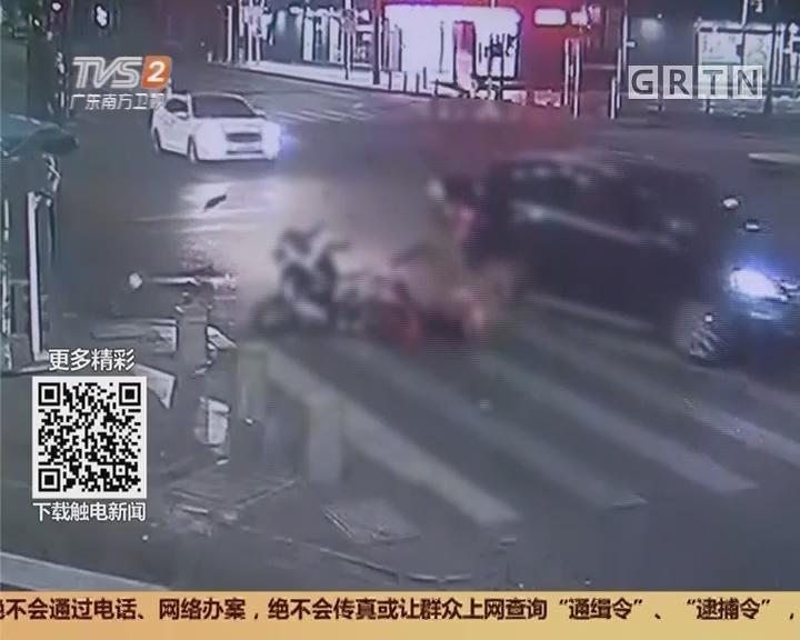 深圳:电动车闯红灯 撞上醉驾奔驰