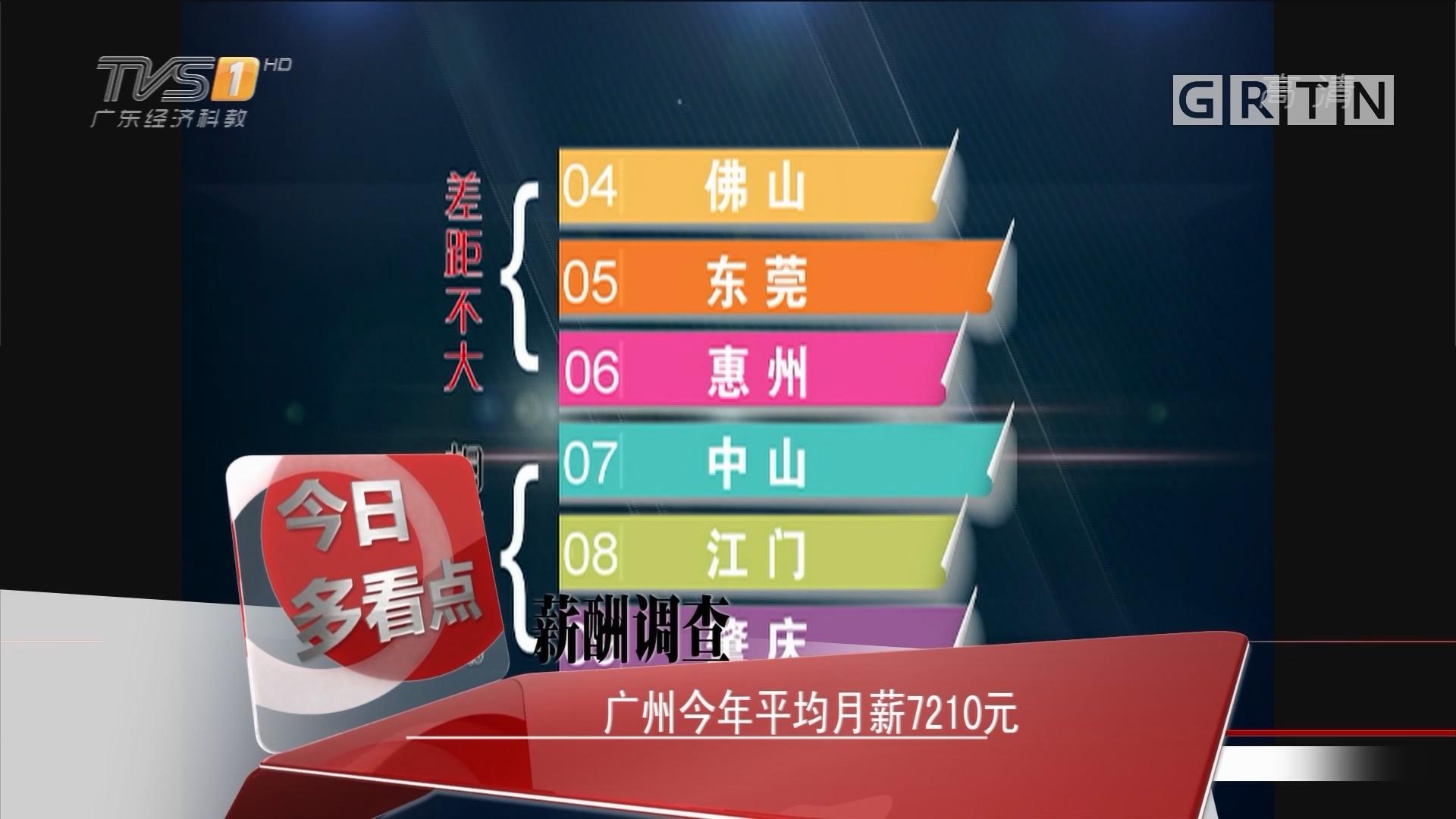 薪酬调查:广州今年平均月薪7210元