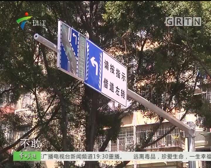 """广州两路口试行""""借道左转"""" 误闯暂不处罚"""