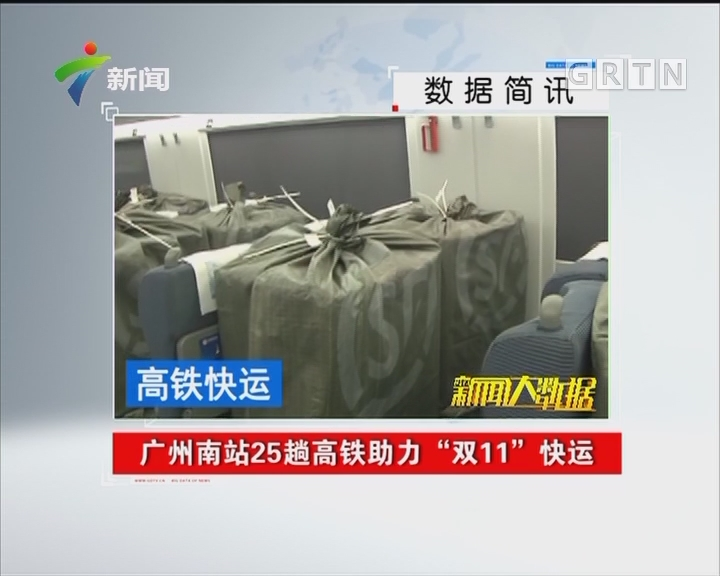 """广州南站25趟高铁助力 """"双11""""快运"""