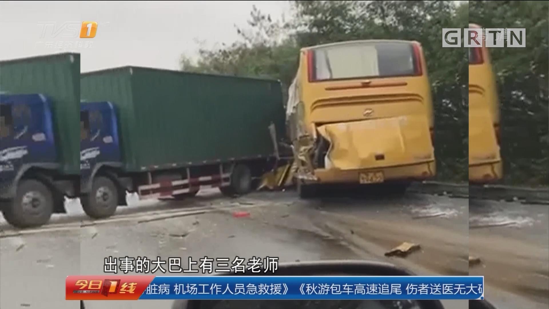 佛山顺德:秋游包车高速追尾 伤者送医无大碍