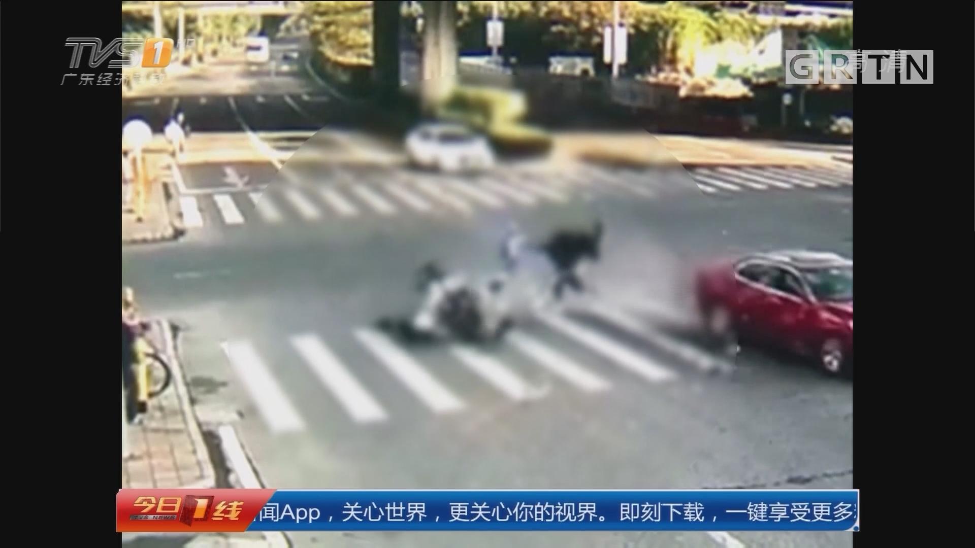深圳横岗:骑摩托搭俩孩子上学出车祸 警方调查