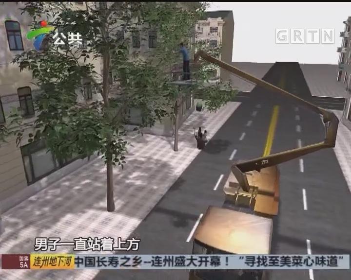 广州:两工人工程车上修剪树木 一人高处坠下