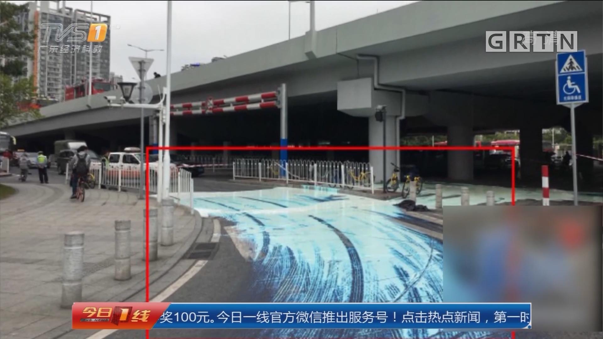"""广州华南快速:货车倾侧""""白漆""""空降 飞流直下"""