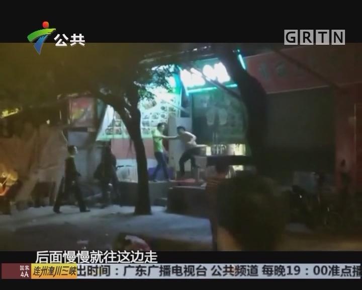 广州:男子持刀打砸商铺 疑似醉酒闹事