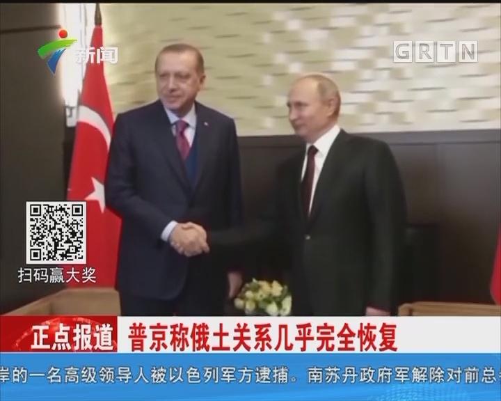 普京称俄土关系几乎完全恢复