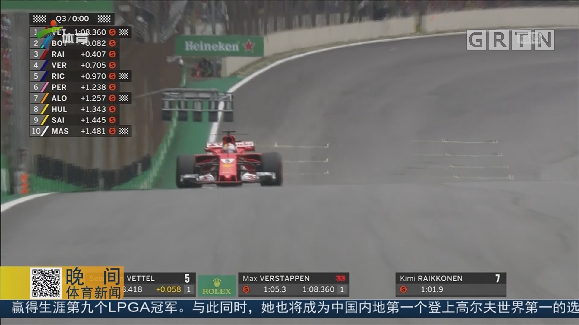F1巴西站排位赛 博塔斯获得杆位 汉密尔顿撞墙退赛