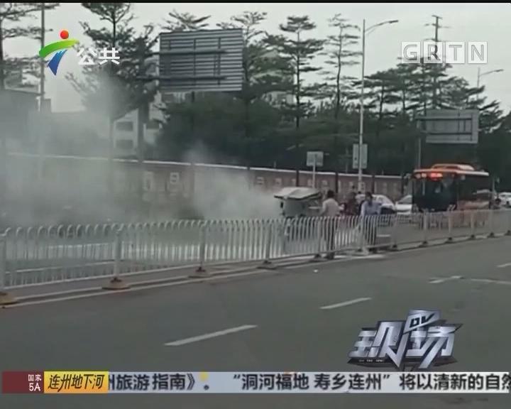 深圳:路遇三轮车着火 公交司机出手相助