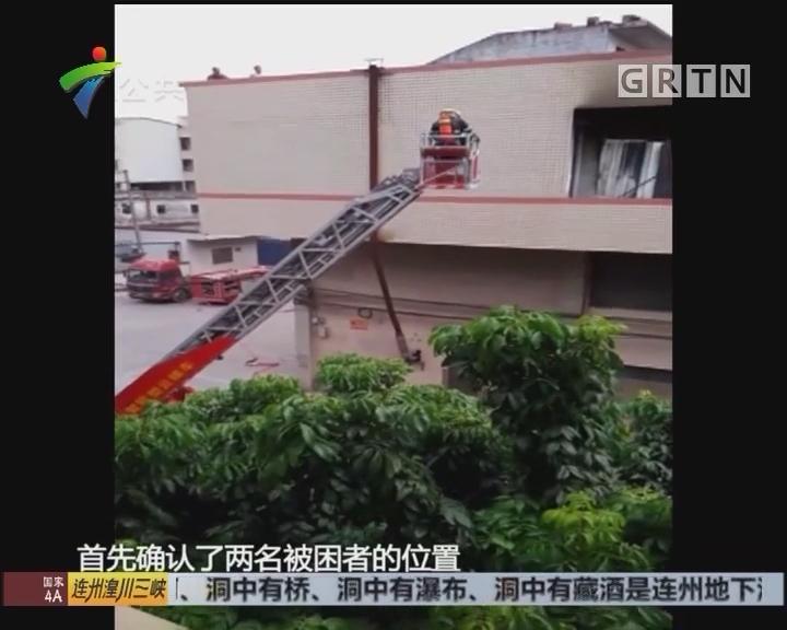 东莞:家具厂起火 消防动用云梯救下两人