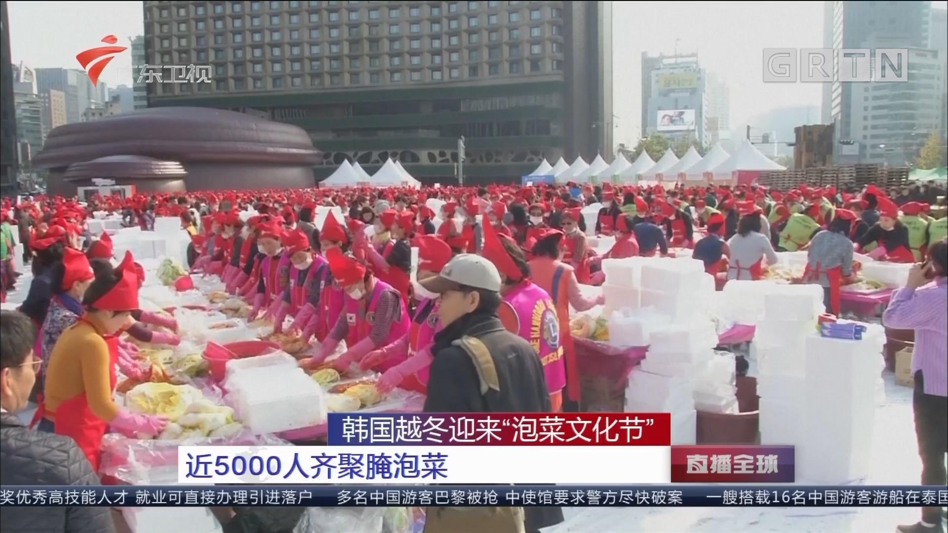 """韩国越冬迎来""""泡菜文化节"""" 近5000人齐聚腌泡菜"""