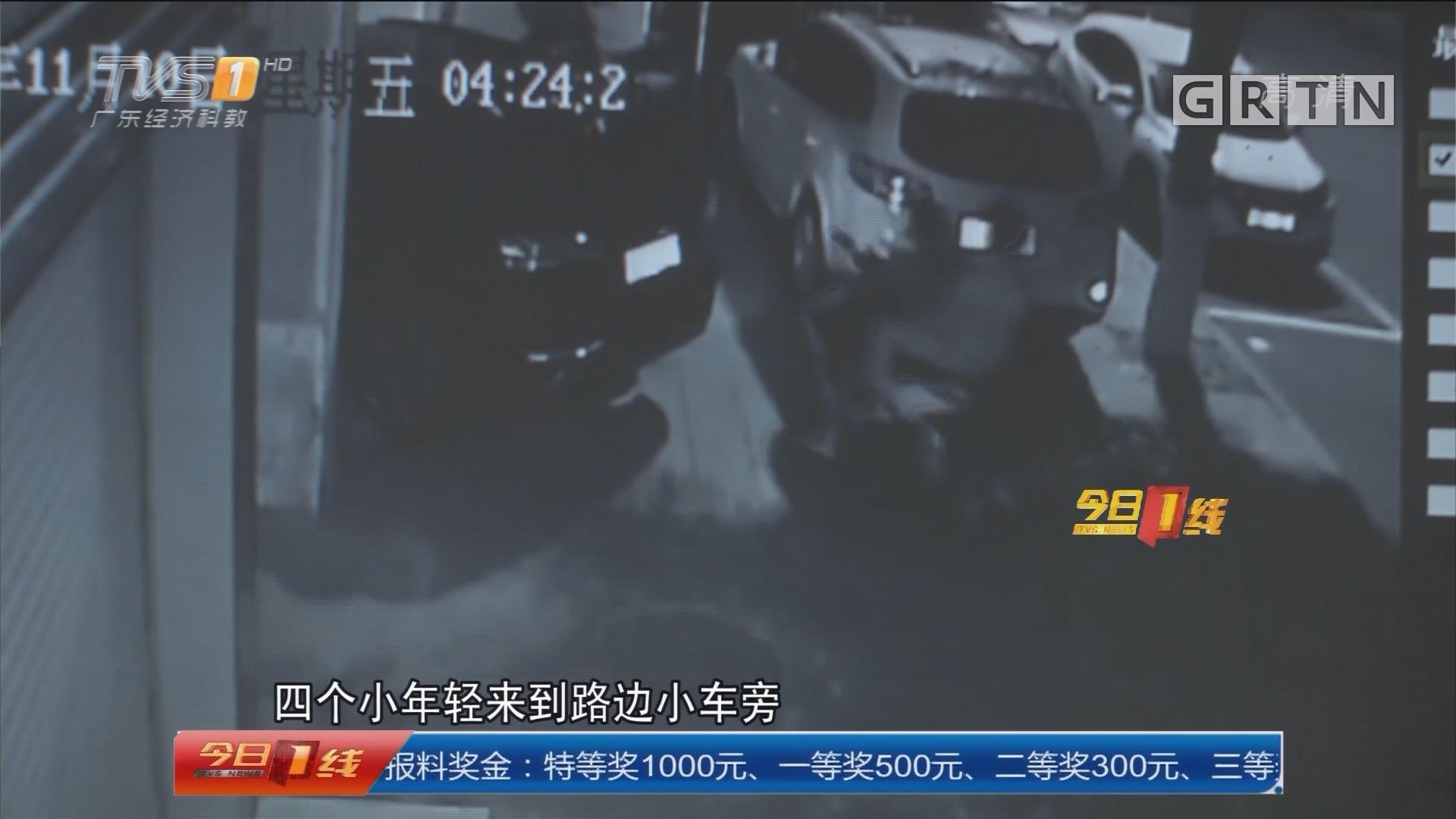河源源城:九辆车凌晨被砸 警方当天破案