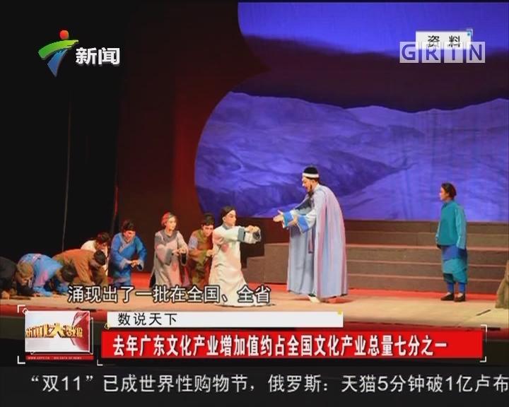 去年广东文化产业增加值约占全国文化产业总量七分之一