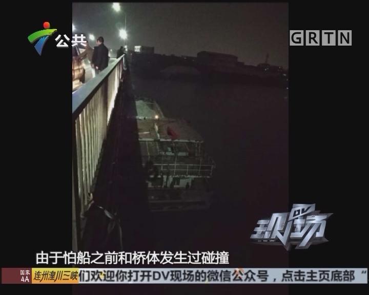 江门:货船顺水漂流 撞上马滘大桥