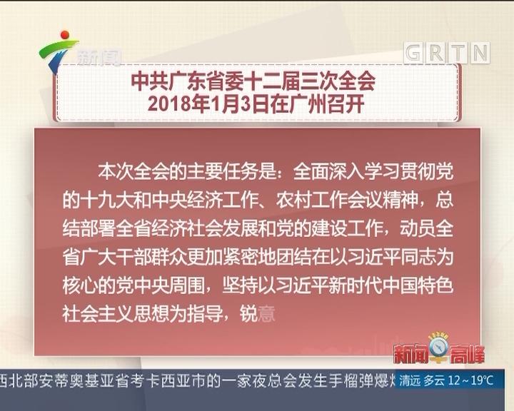 中共广东省委十二届三次全会 2018年1月3日在广州召开