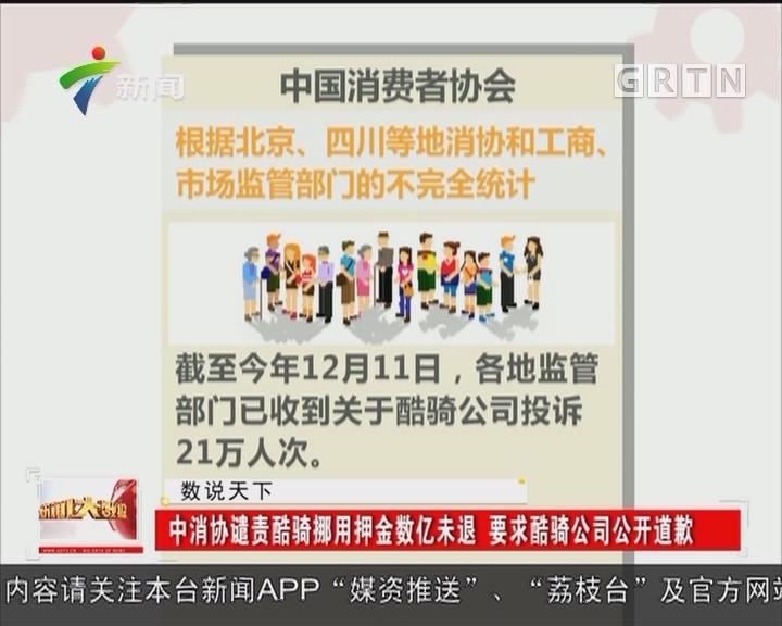 中消协谴责酷骑挪用押金数亿未退 要求酷骑公司公开道歉