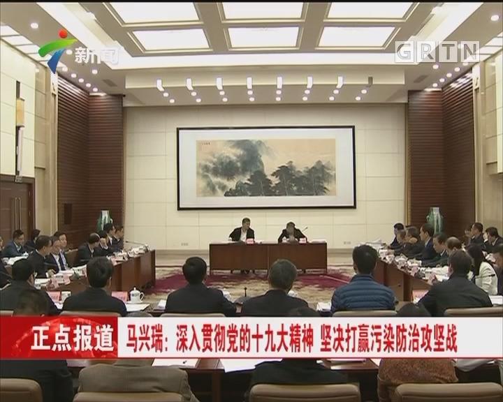 马兴瑞:深入贯彻党的十九大精神 坚决打赢污染防治攻坚战