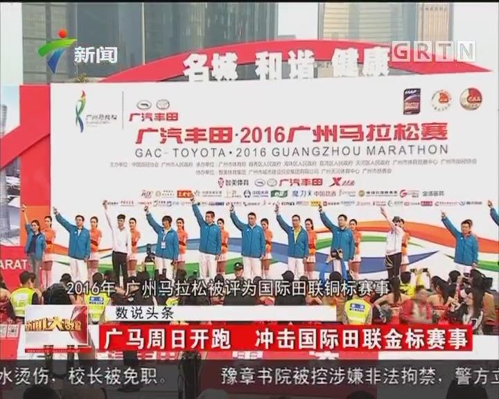 广马周日开跑 冲击国际田联金标赛事