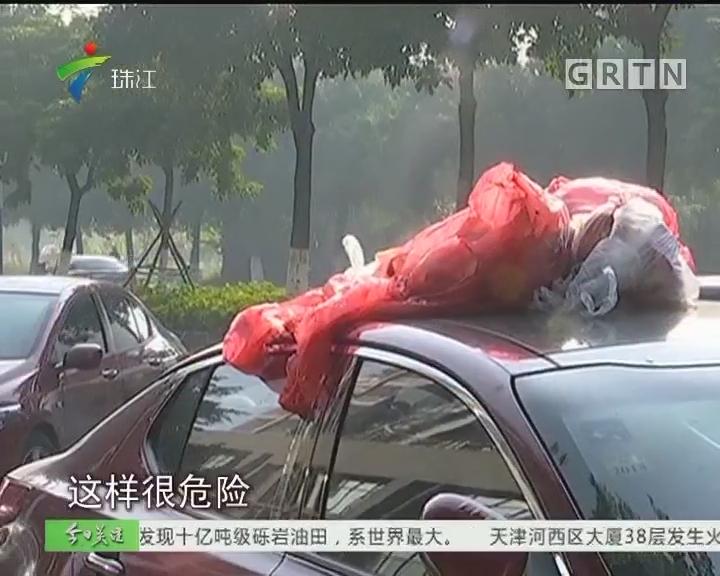 茂名:小车停路边 车顶全是垃圾