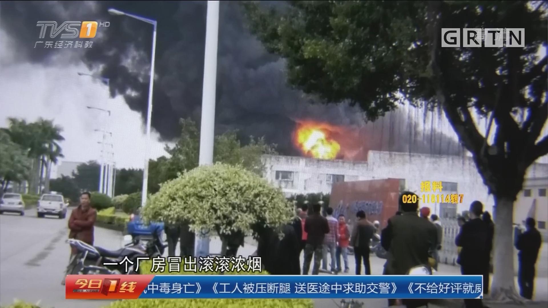 佛山高明:厂房突发大火 消防紧急扑灭