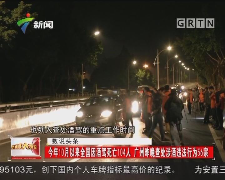 今年10月以来全国因酒驾死亡104人 广州昨晚查处涉酒违法行为56宗