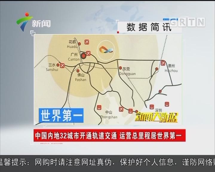 中国内地32城市开通轨道交通 运营总里程居世界第一