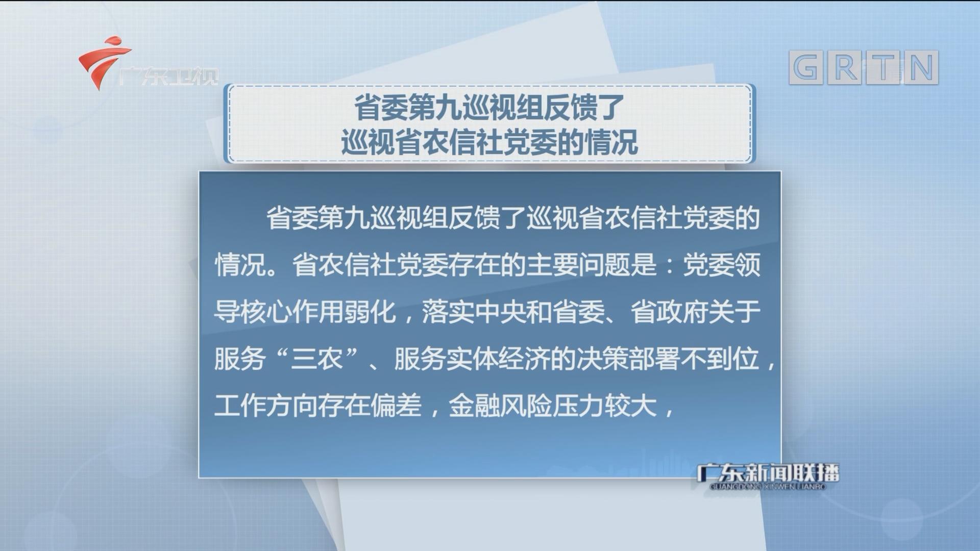 省委第九巡视组反馈了巡视省农信社党委的情况