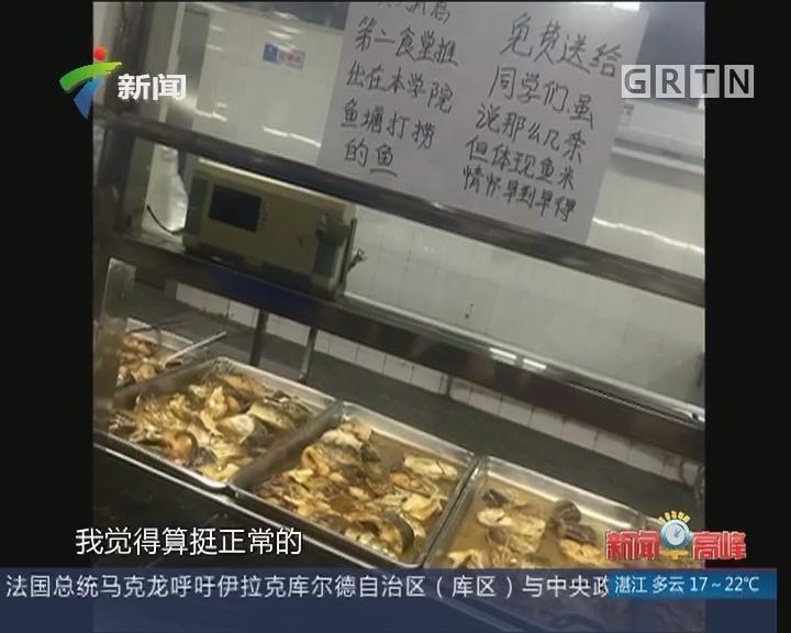 广州某高校人工湖鱼太多 捞起为学生加菜!