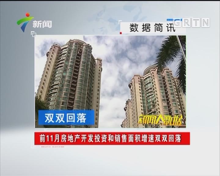 前11月房地产开发投资和销售面积增速双双回落