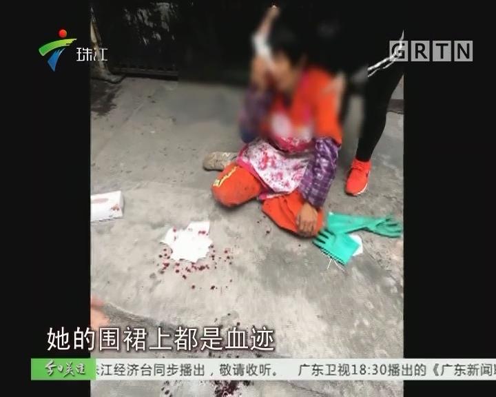 江门:清理建筑垃圾 环卫女工被打伤