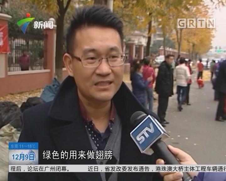 上海:中学生将校园美景画在片片落叶上