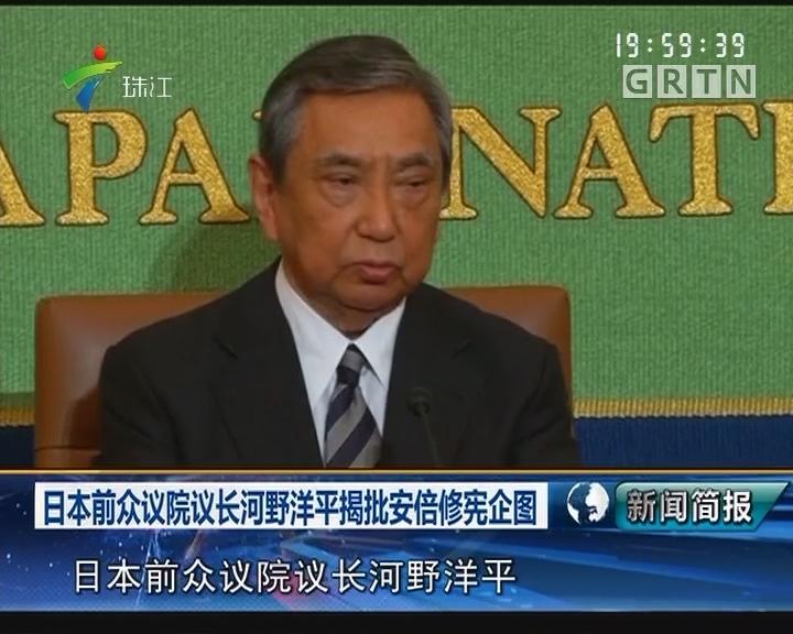 日本前众议院议长河野洋平揭批安倍修宪企图