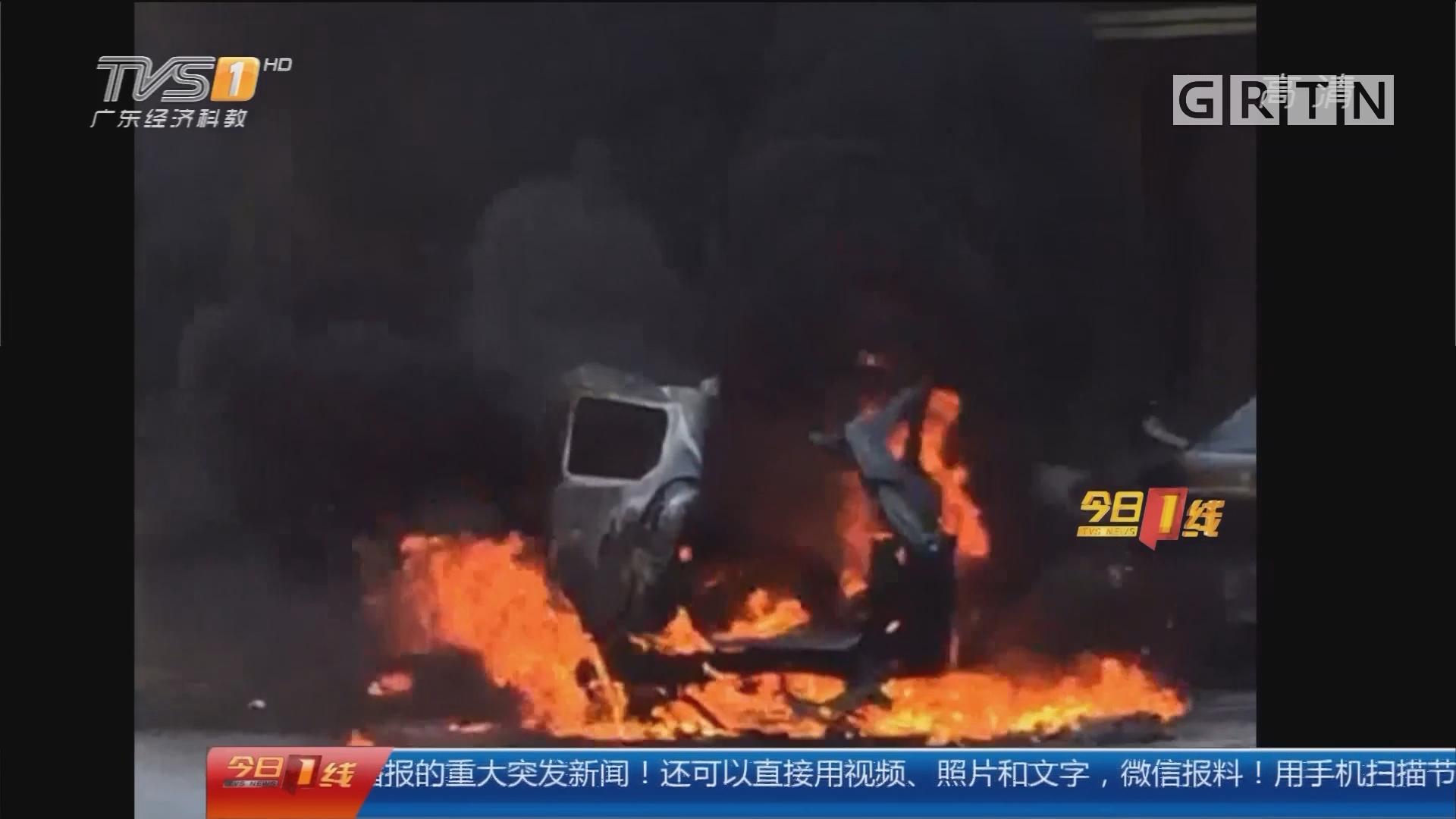 潮州:装煤气罐汽车起火爆炸 火焰近10米
