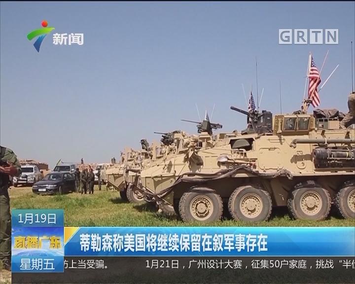 蒂勒森称美国将继续保留在叙军事存在