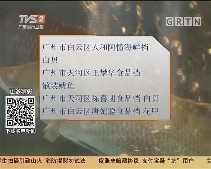 广州:食品安全 12批次食用农产品不合格 海鲜不少
