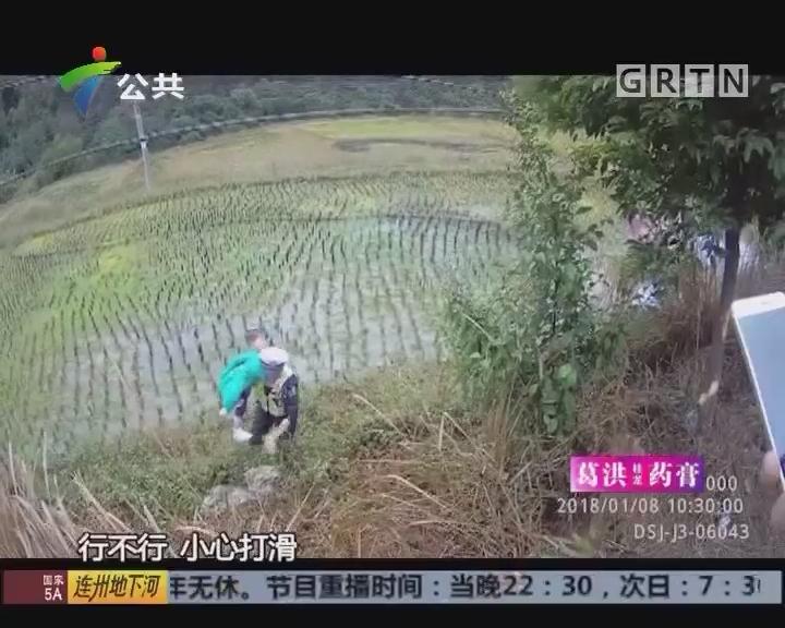 小轿车失控翻落水田 交警冒雨救人获点赞