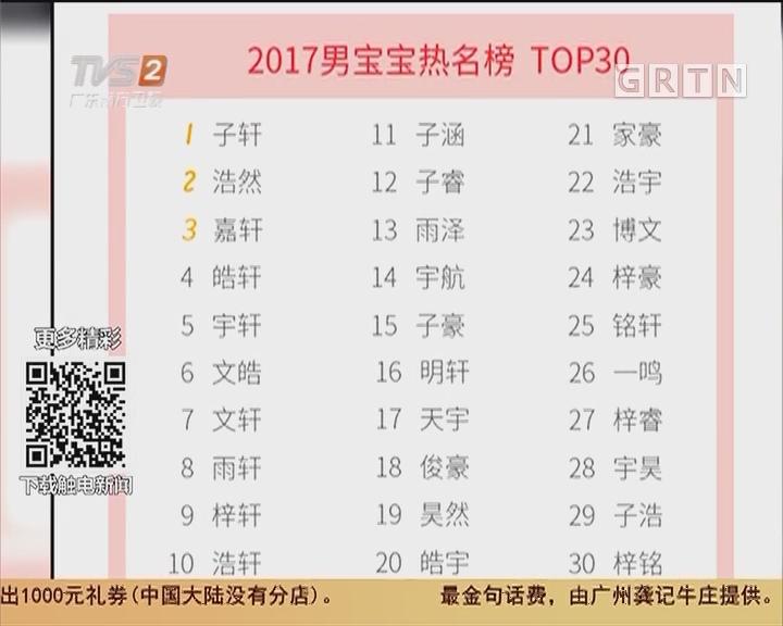爆款姓名:2017新生儿常用名字:梓、轩、涵