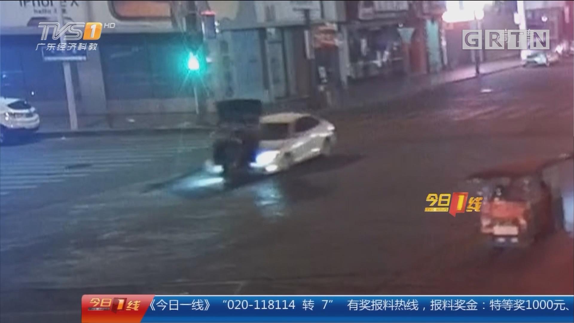 东莞厚街:追尾后逃逸 警方翻监控追肇事者