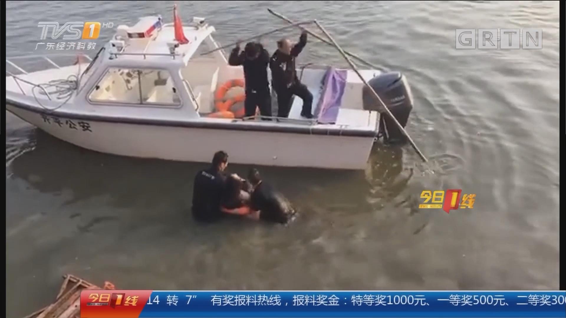 江门开平:妙龄女漂浮江面 特警果断下水救人
