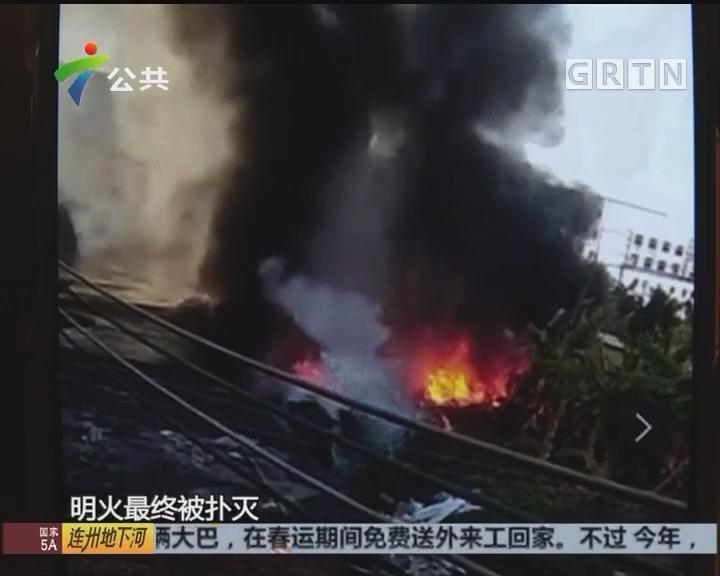 东莞:回收站突然起火 幸无人员伤亡