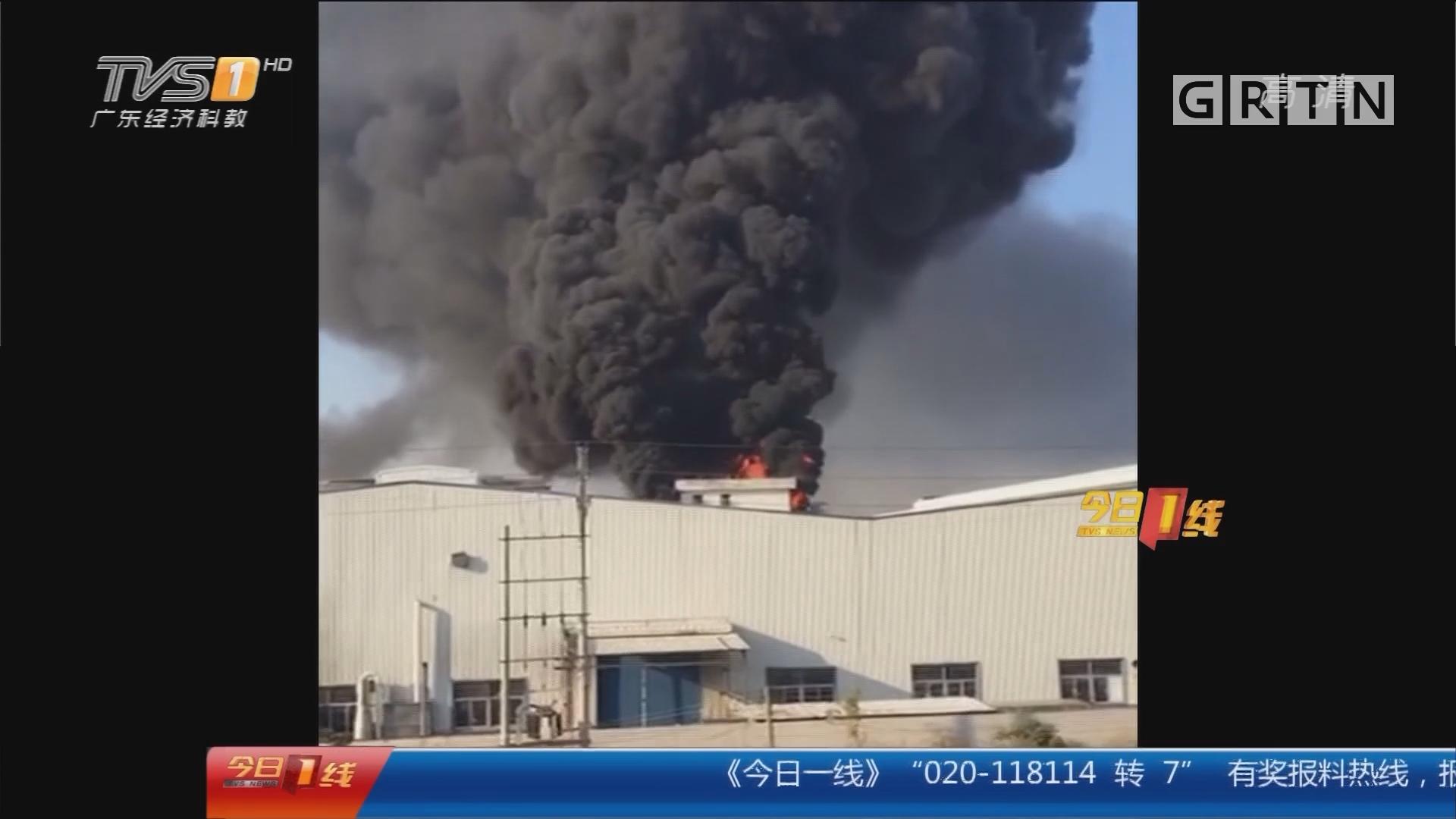 中山:化工厂大火 烧透3层屋顶
