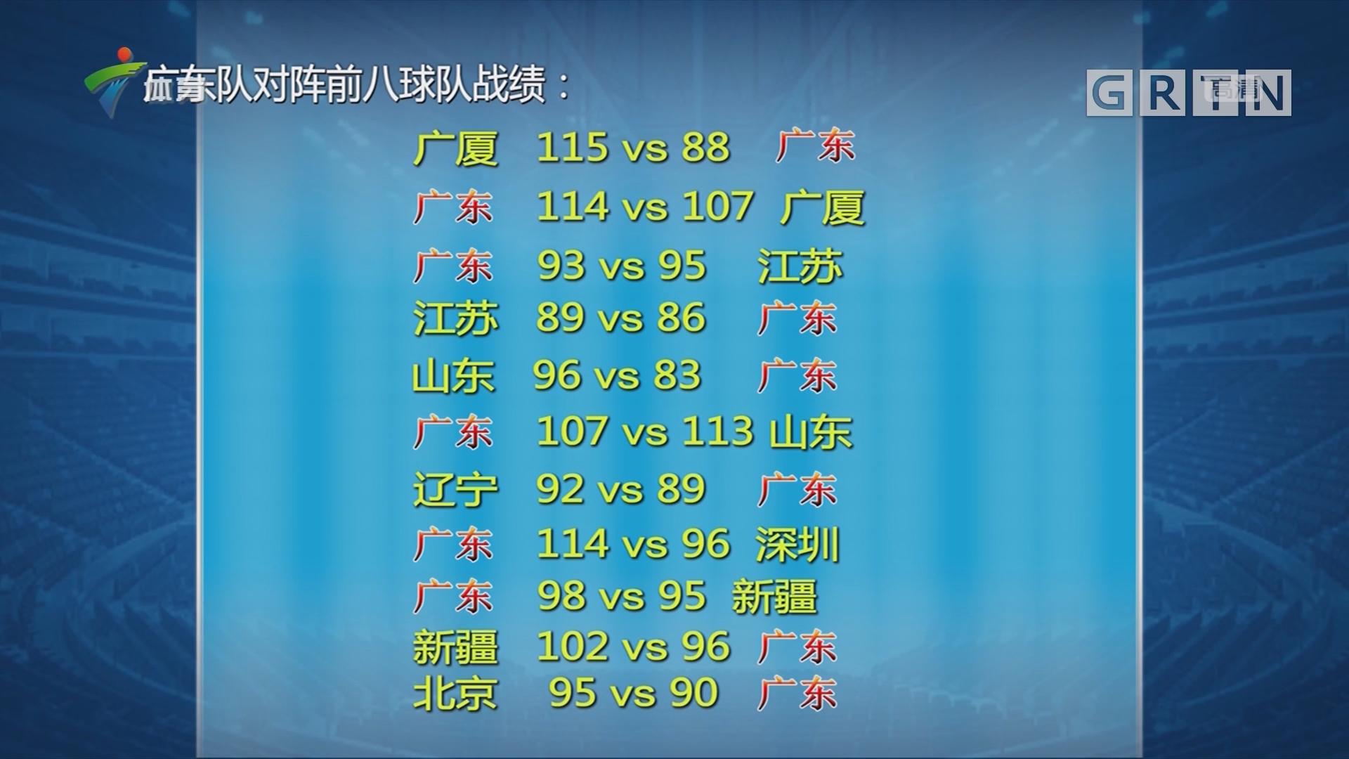 广东队对阵前八球队战绩