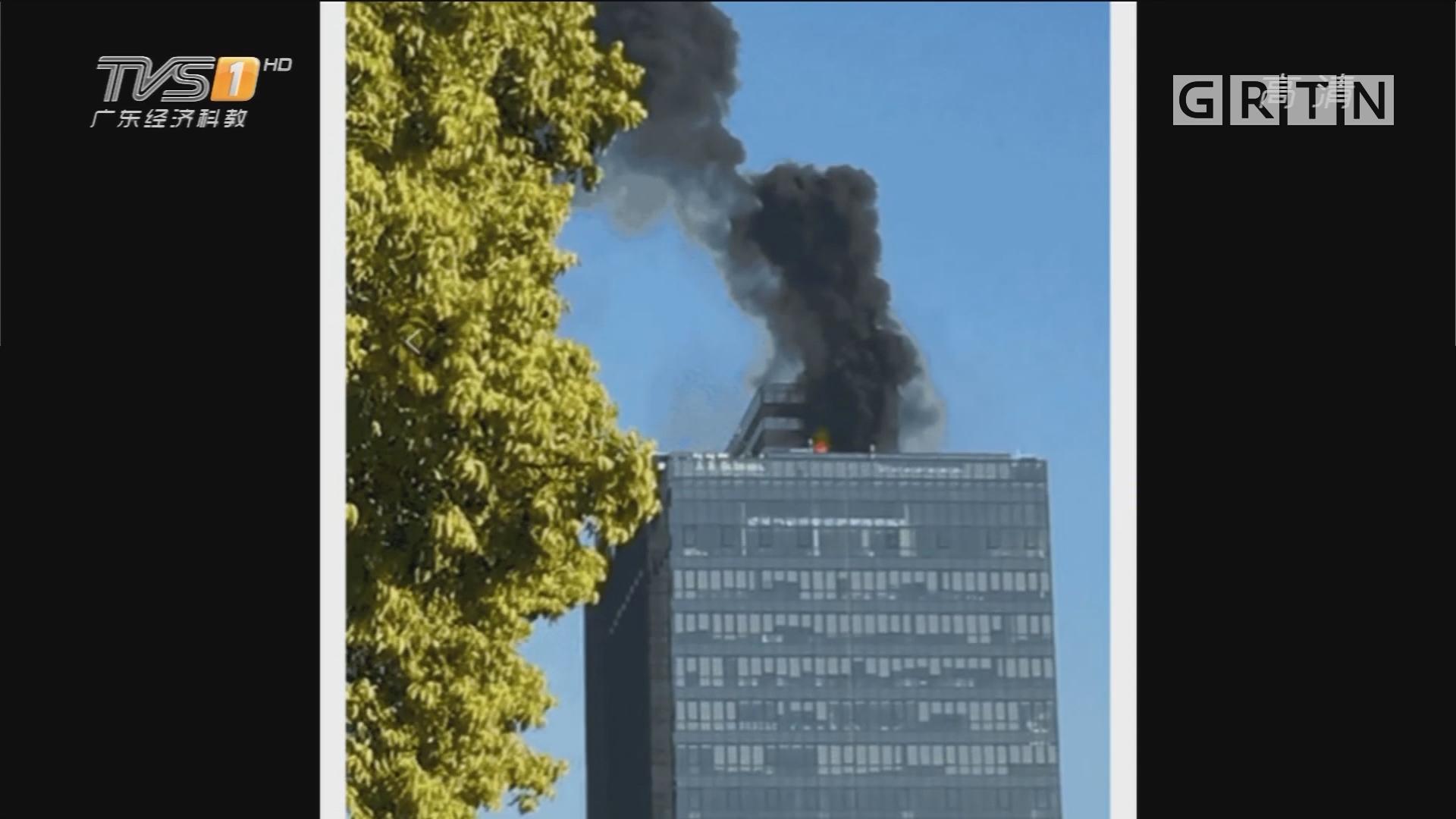 广州番禺:高层建筑起火 浓烟冲天