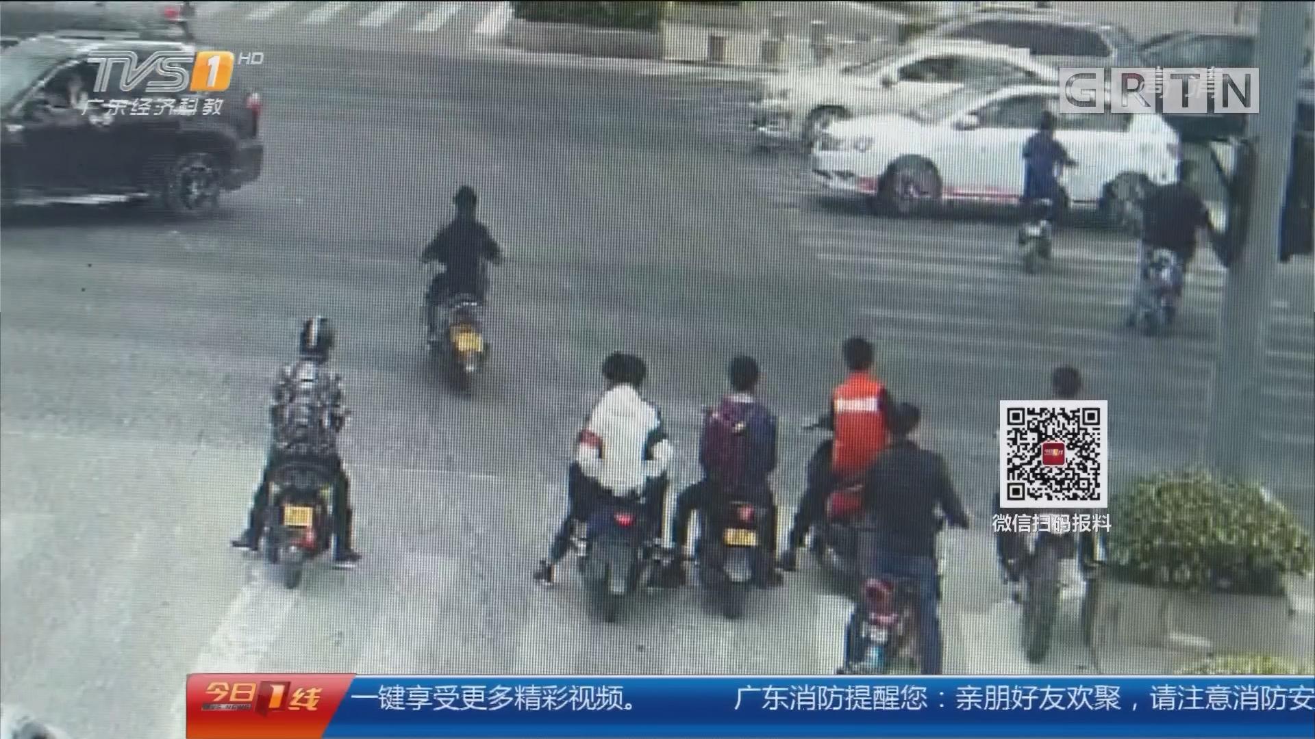 交通安全:东莞长安 飚摩托闯红灯酿惨剧 车毁人伤