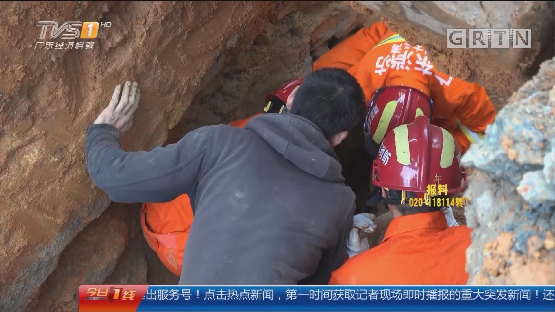 惠州:泥土塌方男子被埋 消防紧急救援