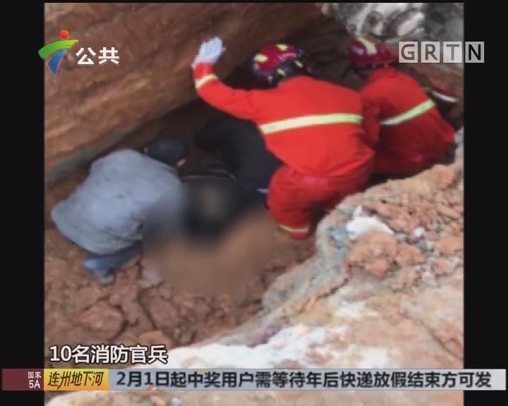 惠州:沟渠施工泥土塌方 一工人被埋压